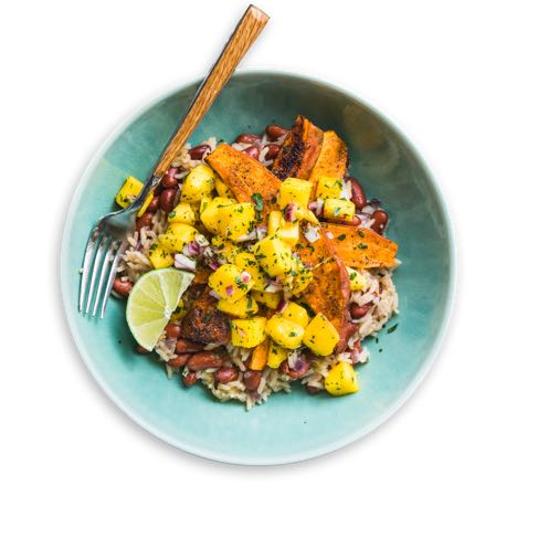 Caribbean Sweet_Potatoes with Coconut Rice and Mango Salsa